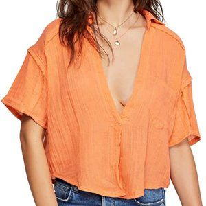 Free People Full Of Light Orange V Button Top NWT